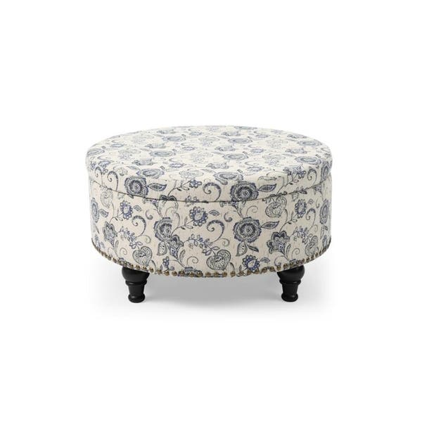 Astonishing Shop Paisley Print Round Storage Ottoman With Nailhead Trim Squirreltailoven Fun Painted Chair Ideas Images Squirreltailovenorg