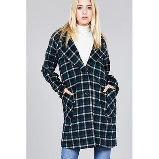 JED Women's Plaid Long Sleeve Notched Collar Long Coat