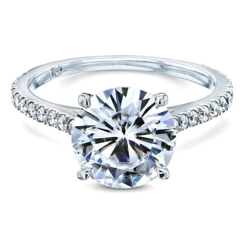 Annello by Kobelli 14k Gold 3 Carats (ct.tw) Basket Cathedral Round Brilliant-cut Moissanite and Diamond Ring (DEF/VS, GH/I)