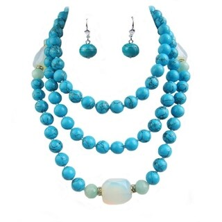 Pearl Lustre Genuine Opalite, Turquoise and Amazonite necklace with matching earrings - N/A