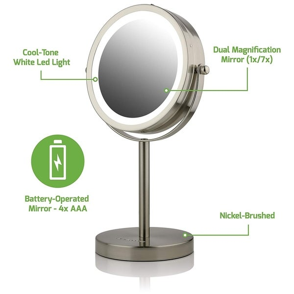 Shop Ovente Mlt60 Lighted Tabletop Makeup Mirror 1x 7x