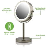 Ovente MLT60 Lighted Tabletop Makeup Mirror 1x/7x Magnification