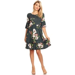 Women's Casual Short Bell Sleeve Floral Pleated Dress