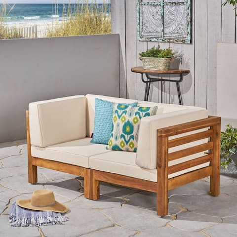 Oana Outdoor 2-Seater Sectional Acacia Wood Loveseat Set by Christopher Knight Home
