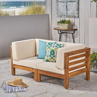 Link to Oana Outdoor 2-Seater Sectional Acacia Wood Loveseat Set by Christopher Knight Home Similar Items in Outdoor Loveseat