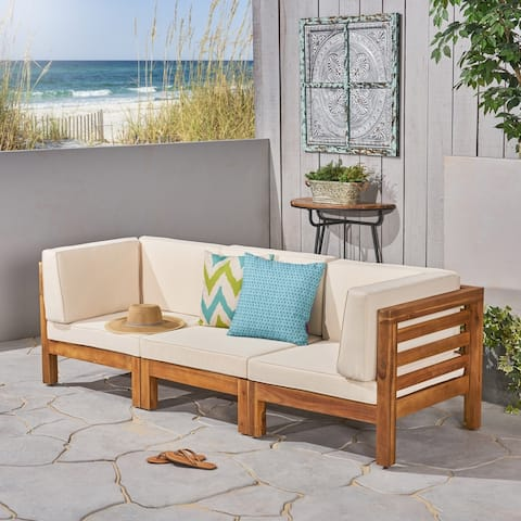 Oana Outdoor Acacia Wood 3-seater Sectional Sofa by Christopher Knight Home