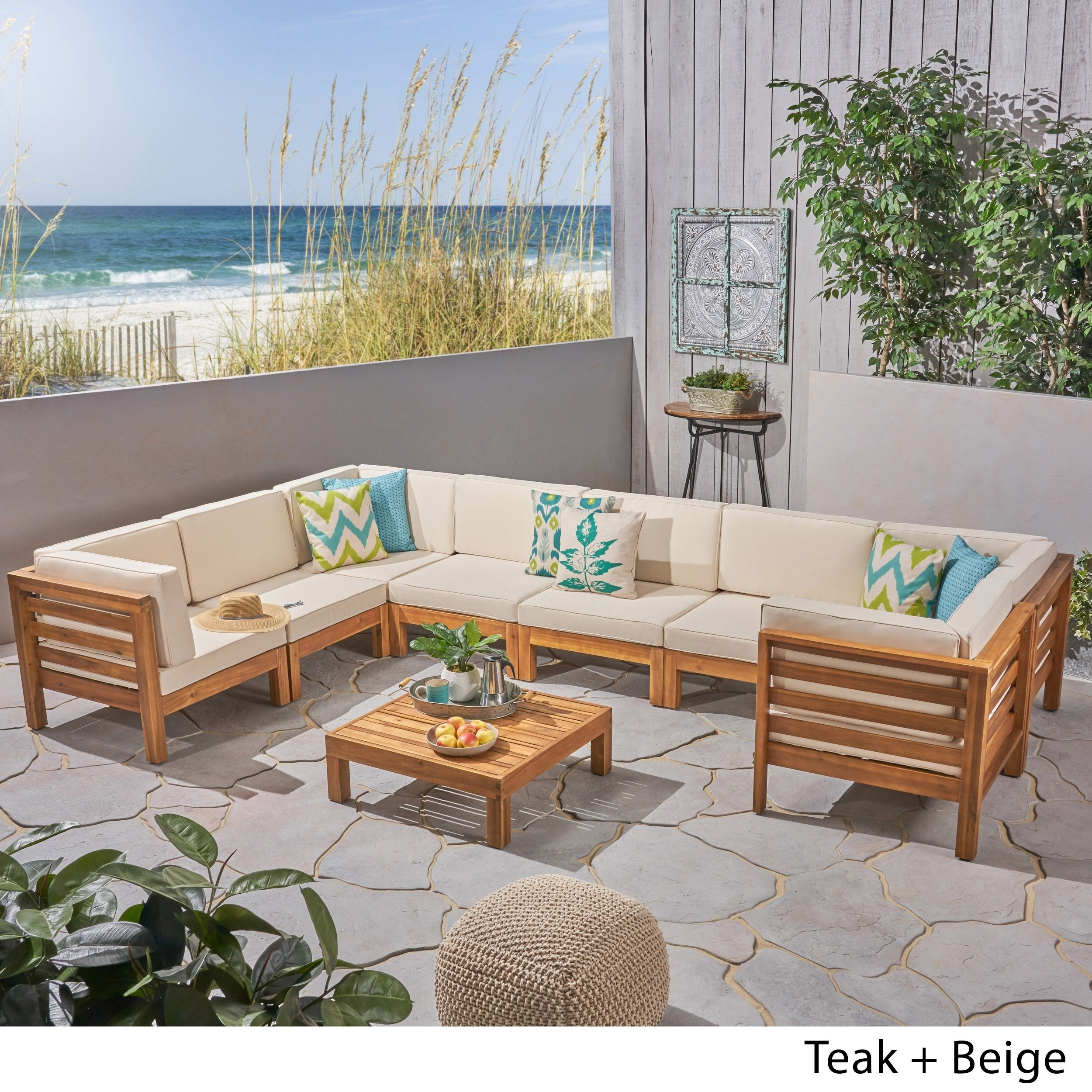 Oana Outdoor 8 Seater Acacia Wood U Shaped Sectional Sofa Set By Christopher Knight Home