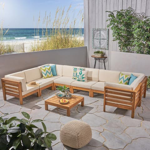 Oana Outdoor 8-Seater Acacia Wood U-Shaped Sectional Sofa Set by Christopher Knight Home