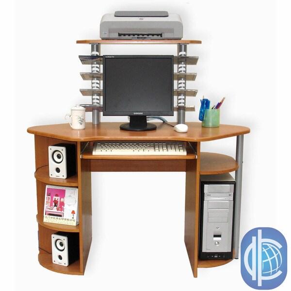 International Caravan Wood Top Desk with 3 Levels and Corner Shelf