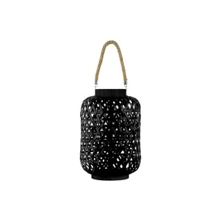 Bamboo Round Lantern with Triangle Cutouts and Hemp Rope Handle, Black