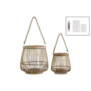 Bamboo Round Lantern with Rope Hangers, Set of Two, Brown