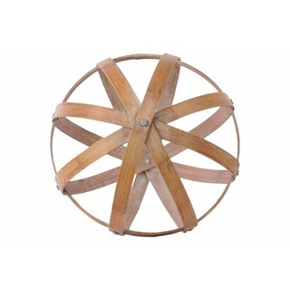 Bamboo Orb Dyson Sphere with 5 Circular Rings, Large, Natural Brown
