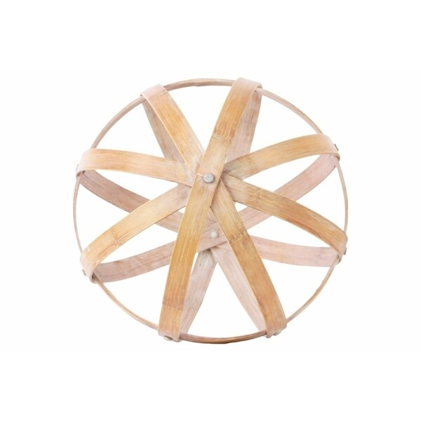 Bamboo Orb Dyson Sphere with 5 Circular Rings, Large, Natural Light Brown