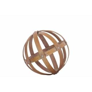 Bamboo Orb Dyson Sphere with 5 Circular Rings, Medium, Natural Brown