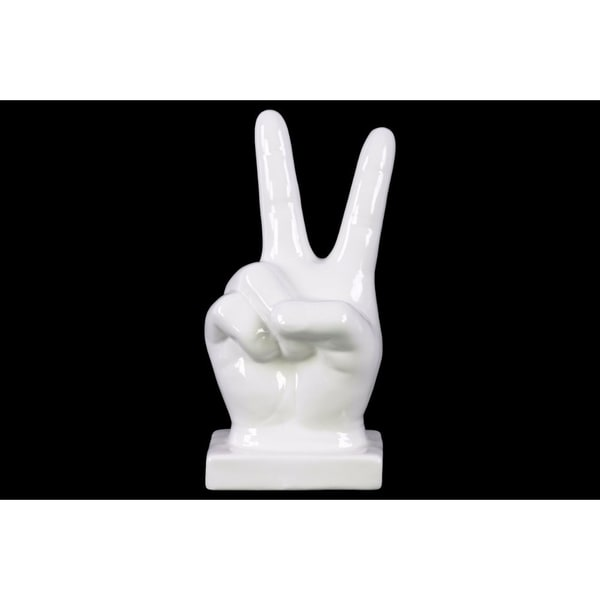 """Ceramic """"Peace"""" Hand Sign Tabletop Decor on Base, Large, Glossy White"""