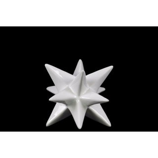 Ceramic Stellated Icosahedron Sculpture, Small, Glossy White