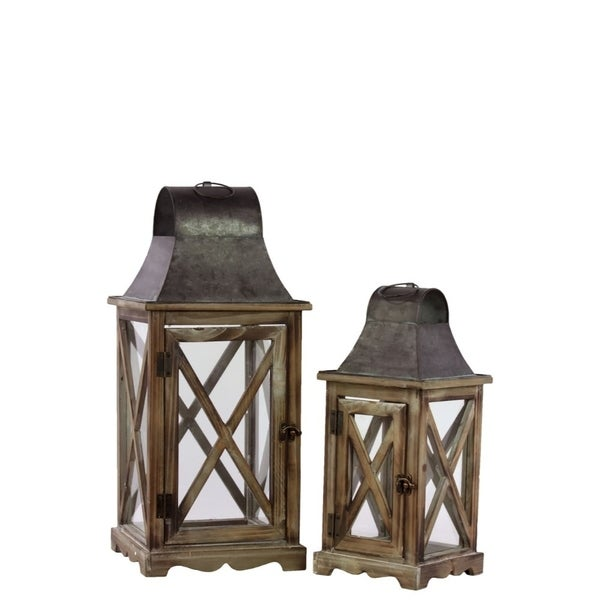 Wood And Metal Lantern With Ring Handle, Set Of 2, Natural Brown