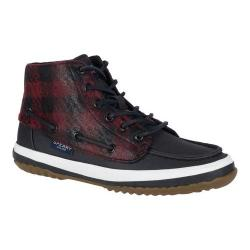 Women's Sperry Top-Sider Pike Remi Ankle Boot Black/Red Wool/Canvas
