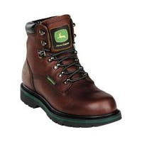 Men's John Deere Boots 6in Safety Toe Waterproof Lace-Up 6383in Boot Dark Brown