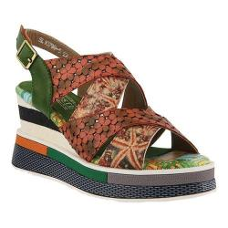 Women's L'Artiste by Spring Step Akosa Wedge Sandal Green Multi Leather