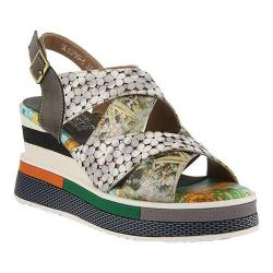 Women's L'Artiste by Spring Step Akosa Wedge Sandal Grey Multi Leather
