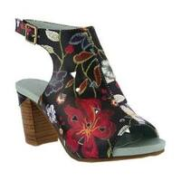 Women's L'Artiste by Spring Step Tapestry Open Toe Bootie Black Multi Leather