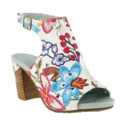 Women's L'Artiste by Spring Step Tapestry Open Toe Bootie White/Red Multi Leather