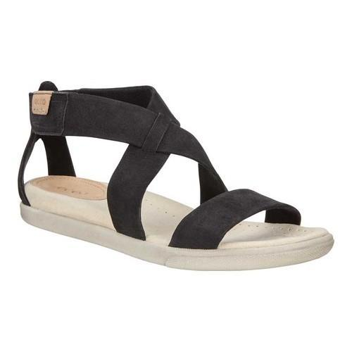 6b11b443712b Shop Women s ECCO Damara Strappy Sandal Black Cow Nubuck - Free Shipping  Today - Overstock.com - 19856522
