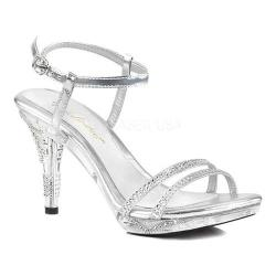 Women's Fabulicious Iris 416 Ankle Strap Sandal Silver Metallic Polyurethane/Clear (More options available)