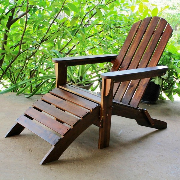 International Caravan Adirondack Chair with Attached Footrest