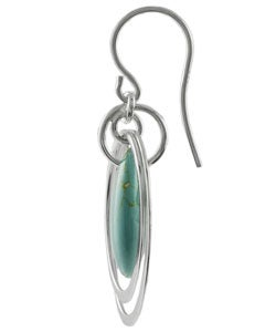 Journee Collection Sterling Silver Block Turquoise Earrings - Thumbnail 1
