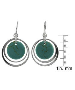 Journee Collection Sterling Silver Block Turquoise Earrings - Thumbnail 2