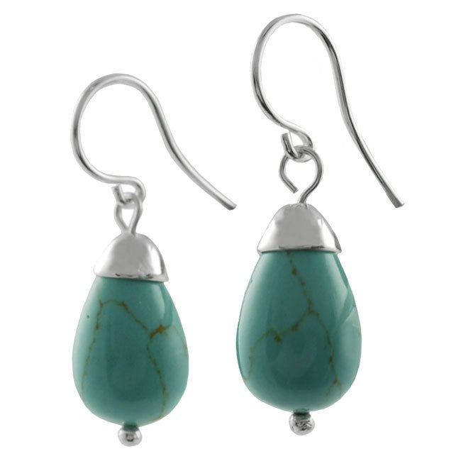 Journee Collection Sterling Silver Block Turquoise Bell Earrings
