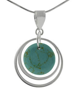 Journee Collection Sterling Silver Block Turquoise Necklace