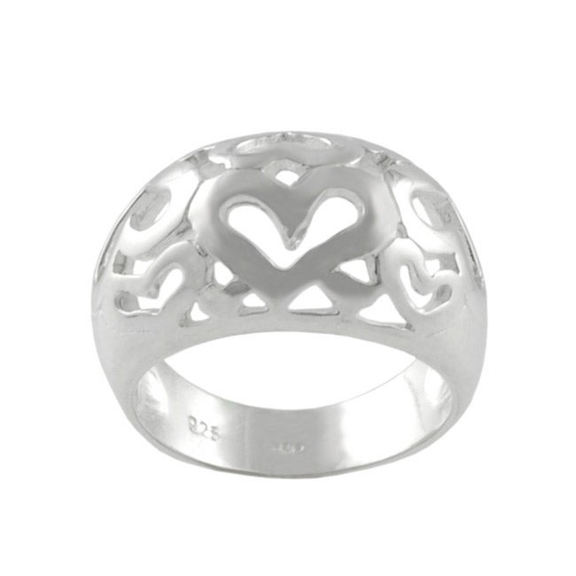 Journee Collection Sterling Silver Polished Hearts Ring