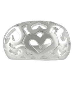 Journee Collection Sterling Silver Polished Hearts Ring - Thumbnail 2