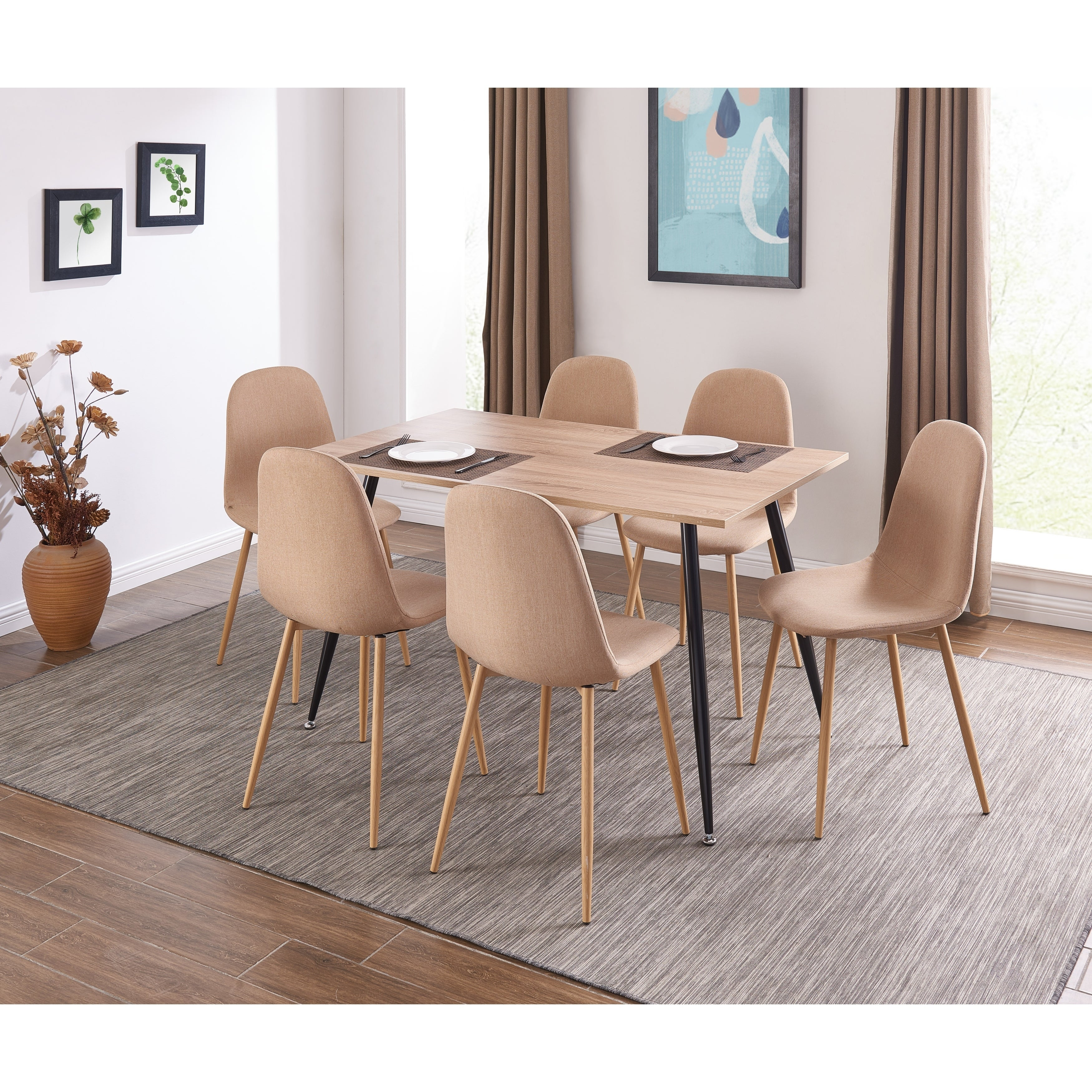 Ids Oinline Modern Style Designed Dining Table Wooden Look Mdf Top Black Coated Metal Leg Rectangular Walnut