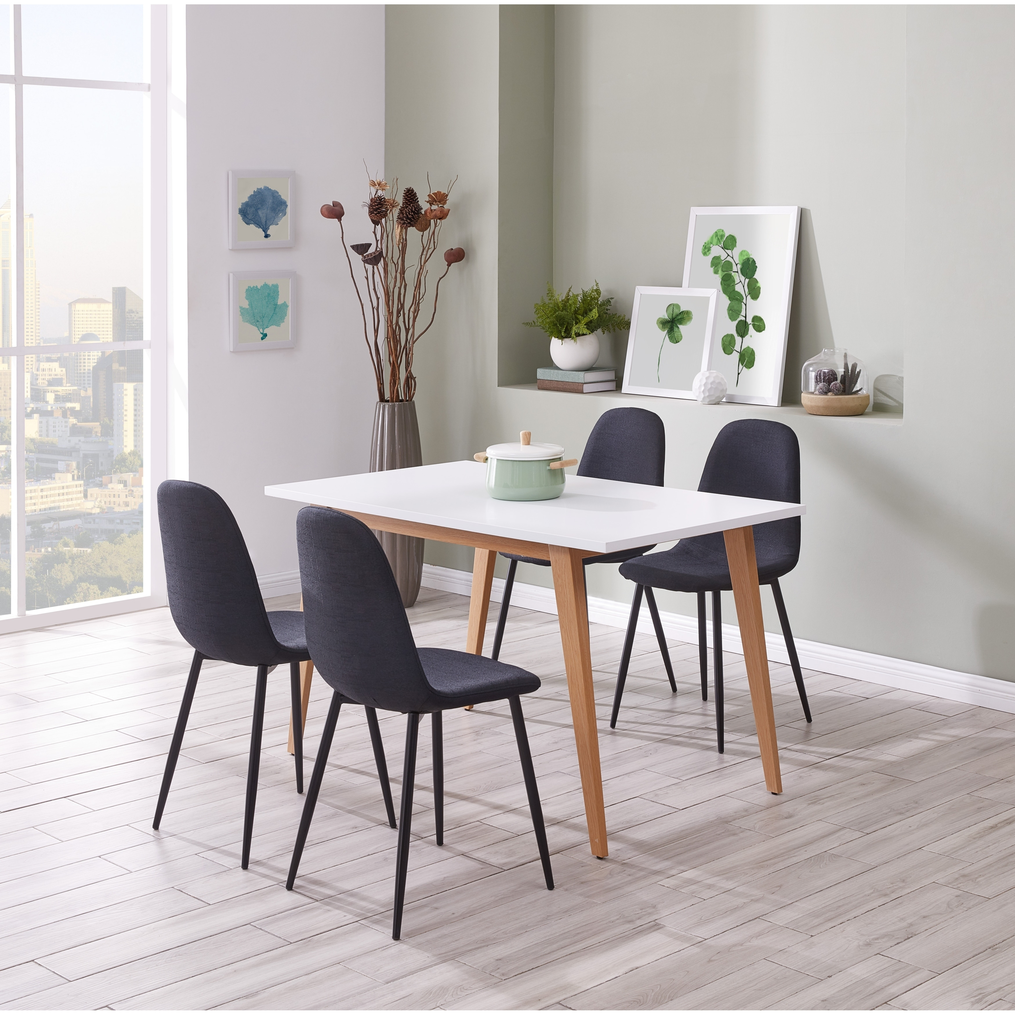 Ids Online Contemporary Norway Simplicity Style Mdf Dining Table With Wooden Skin Cover Metal Leg For 6 Rectangular White