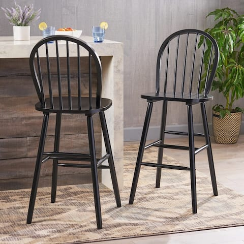 Tilbury Traditional Rubberwood Spindle Bar Stools (Set of 2) by Christopher Knight Home