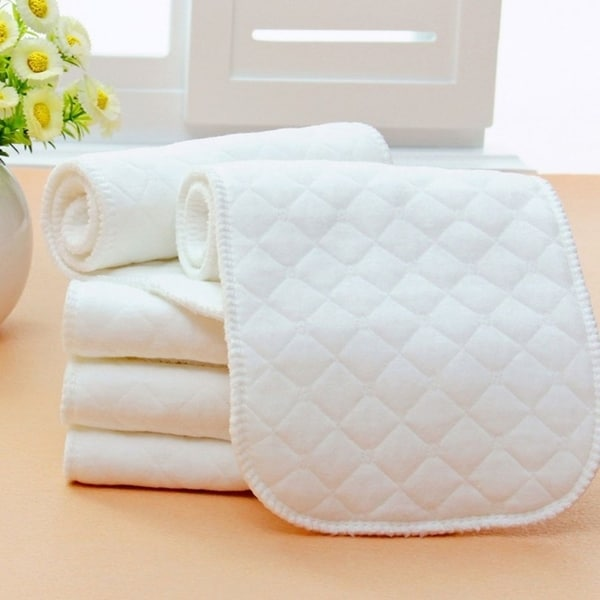 10pcs Reusable Cotton Baby Cloth Diaper Nappy Liners Insert 3 Layers - White