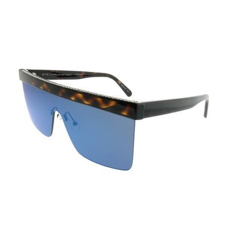 Stella McCartney Shield SC 0148S Falabella 003 Women Dark Havana Frame Blue Mirror Lens Sunglasses