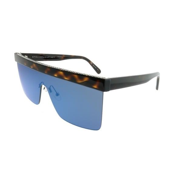 Stella McCartney Shield SC 0148S Falabella 003 Women Dark Havana Frame Blue Mirror Lens Sunglasses. Opens flyout.