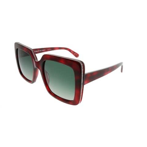 Stella McCartney Square SC 0093S Falabella 002 Women Red Havana Frame Green Gradient Lens Sunglasses