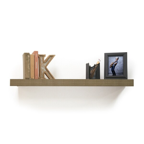 shop inplace 48 inch grey oak floating shelf free shipping on rh overstock com 48 inch white floating shelves 48 inch floating shelf brackets