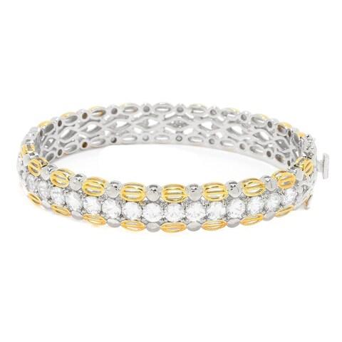 Michael Valitutti Palladium Silver White Zircon Hinged Bangle Bracelet