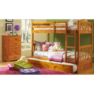 American Furniture Classics 2111-TTHT Honey Wood Twin/Twin Bunk Bed and Roll-out Twin Trundle Bed