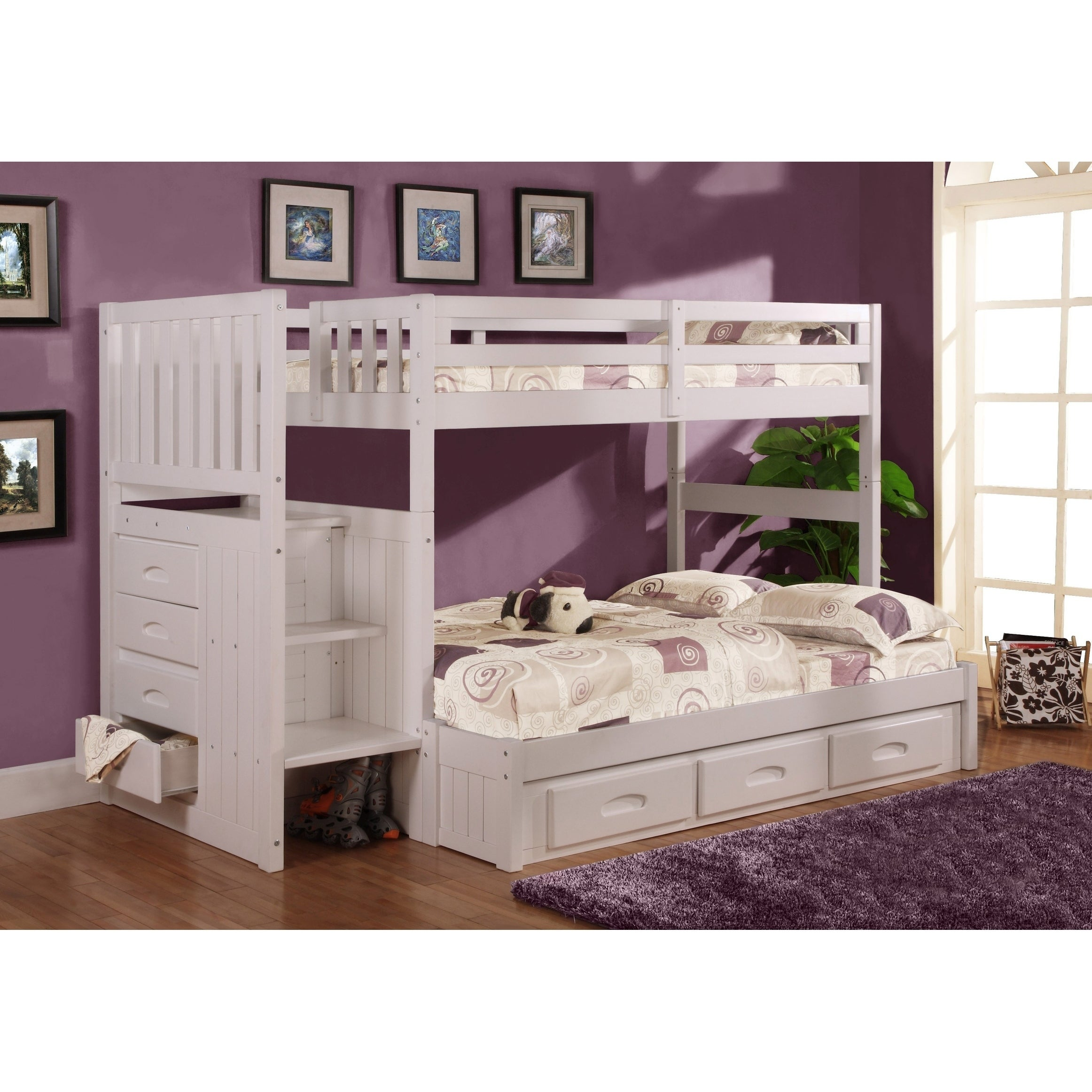 Picture of: American Furniture Classics Model 0214 Tfw Solid Pine Mission Staircase Twin Full Bunk Bed With Seven Drawers In White On Sale Overstock 23431955