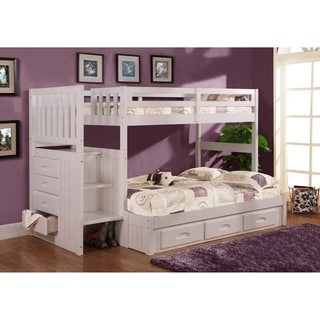 American Furniture Classics Model 0214-TFW, Solid Pine Mission Staircase Twin/Full Bunk Bed with Seven Drawers in White.