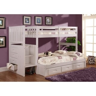 American Furniture Classics Model 0214-TFW White Solid Pine Mission Staircase Twin/Full Bunk Bed with 7 Drawers