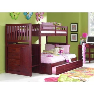Solid Pine Mission Staircase Twin over Full with Four Drawer Chest and Roll Out Twin Trundle Bed in Merlot.